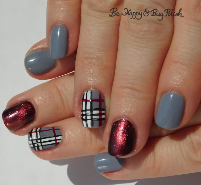plaid nail art with magnetic accent nail | Be Happy And Buy Polish