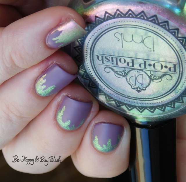 POP Polish Watermelon BubbleSlick, Sinful Colors Defiant Matte Finish paint drip manicure close up | Be Happy And Buy Polish