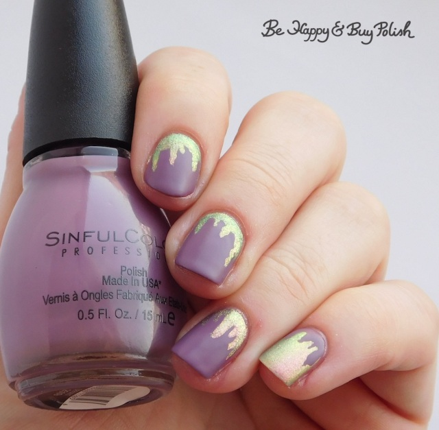 Sinful Colors Defiant Matte Finish, POP Polish Watermelon BubbleSlick paint drip manicure | Be Happy And Buy Polish