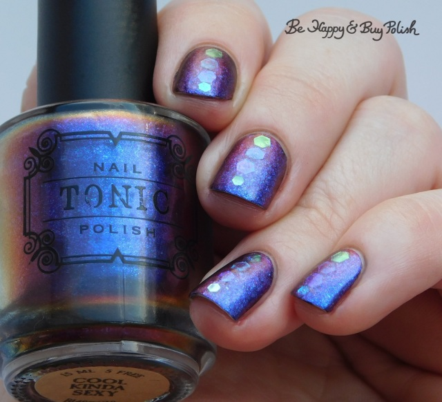 Tonic Polish Cool Kinda Sexy, Blackheart Beauty Lavender Iridescent glitter placement manicure | Be Happy And Buy Polish