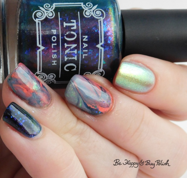 Tonic Polish Helpless, L.A. Colors Blankie, Moonflower Polish I Just Can't Wait, P.O.P. Polish SandSlick marble decal manicure | Be Happy And Buy Polish