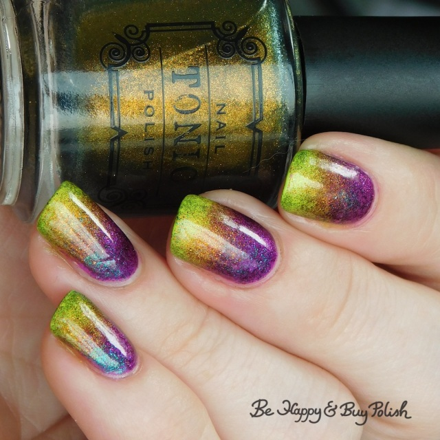 Tonic Polish Here Comes the Sun and Mirabilis, Moonflower Polish Lemonade and Pool Party double gradient rainbow manicure | Be Happy And Buy Polish