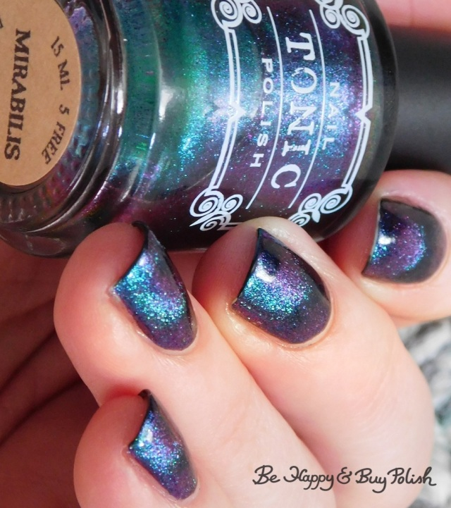 Tonic Polish Mirabilis magnetic nail polish over Blackheart Beauty Navy Vampire Matte blue to purple shift | Be Happy And Buy Polish