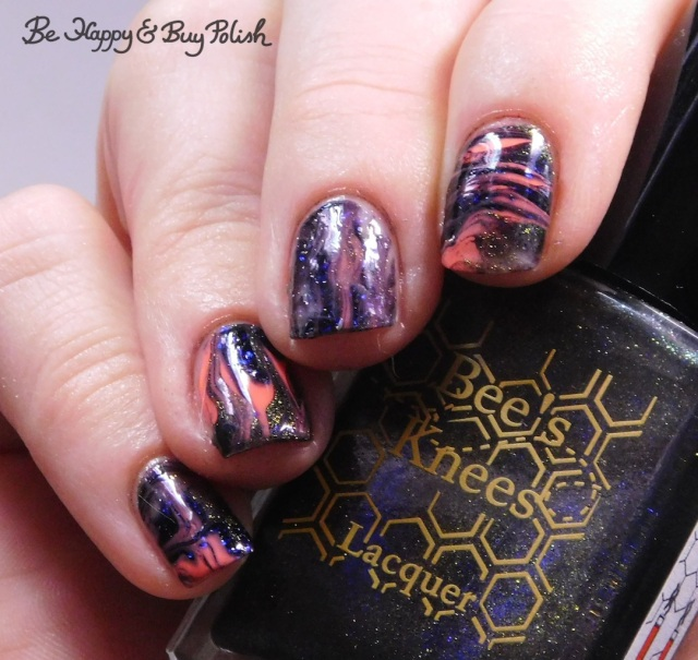 Bee's Knees Lacquer Valak, L.A. Colors Glows Luminous, P.O.P Polish Radioactive Glass and Wolfsbane swirled magnetic blacklight reactive manicure | Be Happy And Buy Polish
