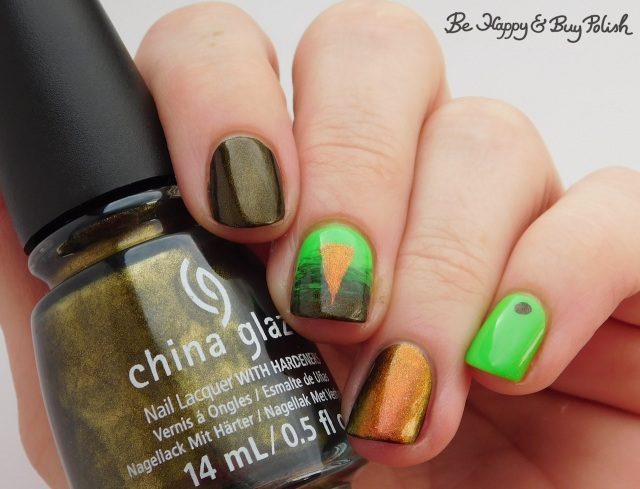 China Glaze Wicked Liquid, L.A. Colors Glow Fluorescent, Tonic Polish Calcifer triangle design | Be Happy And Buy Polish