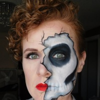 Cracked Skull Half Skeleton Makeup Look