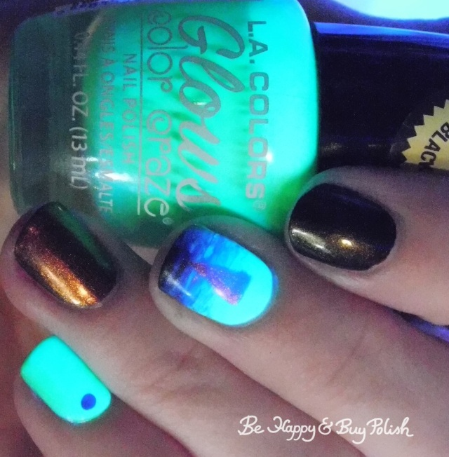 L.A. Colors Glow Fluorescent, Tonic Polish Calcifer, China Glaze Wicked Liquid triangle blacklight design | Be Happy And Buy Polish