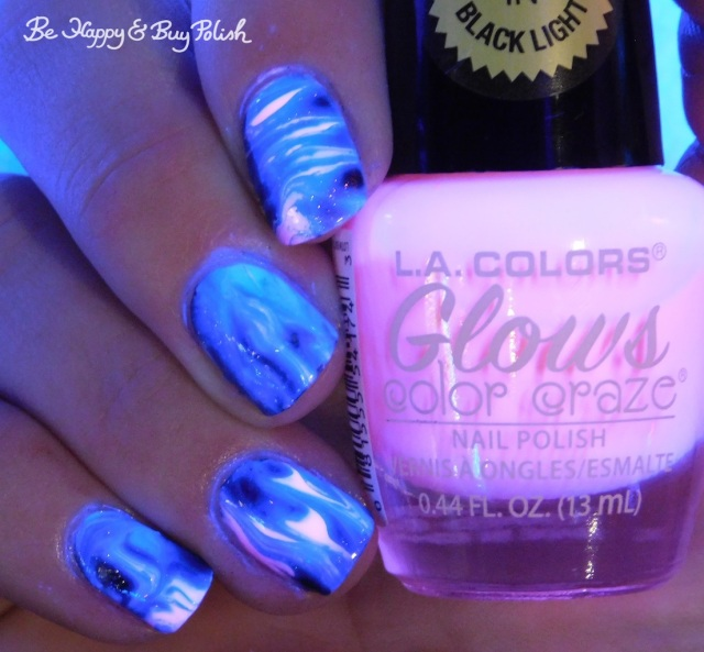 L.A. Colors Glows Luminous, P.O.P Polish Radioactive Glass and Wolfsbane, Bee's Knees Lacquer Valak swirled magnetic blacklight reactive manicure | Be Happy And Buy Polish