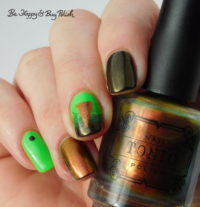 Tonic Polish Calcifer, China Glaze Wicked Liquid, L.A. Colors Glow Fluorescent triangle design | Be Happy And Buy Polish