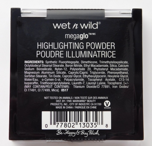 Wet N Wild Megaglo Highlighting Powder Moonlit Gleam ingredients | Be Happy And Buy Polish