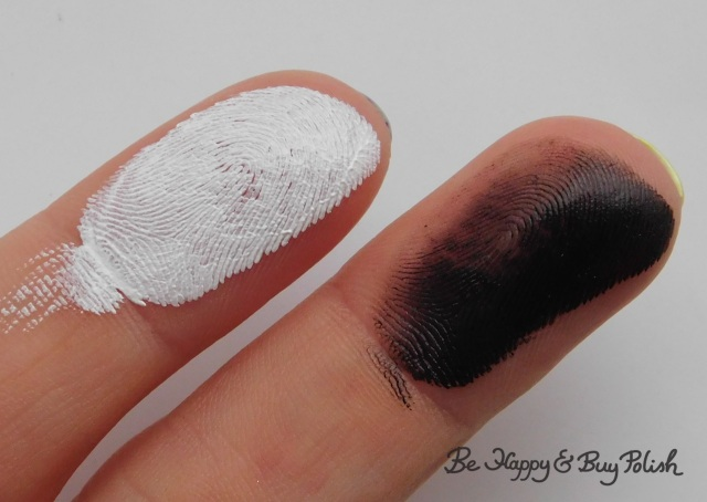 Wet N Wild Paint Pot White and Black finger swatches | Be Happy And Buy Polish