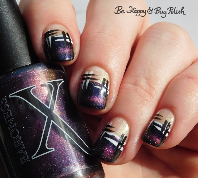 Baroness X Sharks with Frickin' Laser Beams, CBL Fake Tan Man, L.A. Colors Mermaid Magic Opal, Circuits, Energy Source hash manicure | Be Happy And Buy Polish