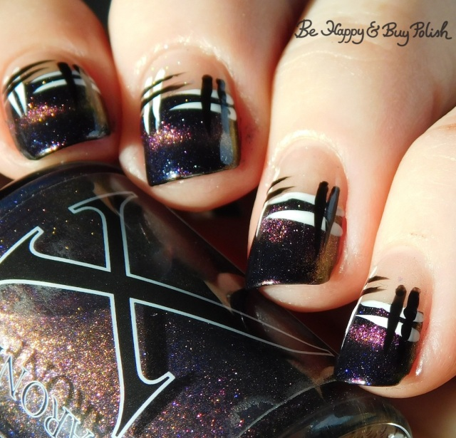 Baroness X Sharks with Frickin' Laser Beams, CBL Fake Tan Man, L.A. Colors Mermaid Magic Opal, Energy Source, Circuits hash manicure | Be Happy And Buy Polish