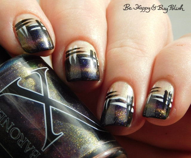 Baroness X Sharks with Frickin' Laser Beams, L.A. Colors Mermaid Magic Opal, Circuits, Energy Source, CBL Fake Tan Man hash manicure close up | Be Happy And Buy Polish