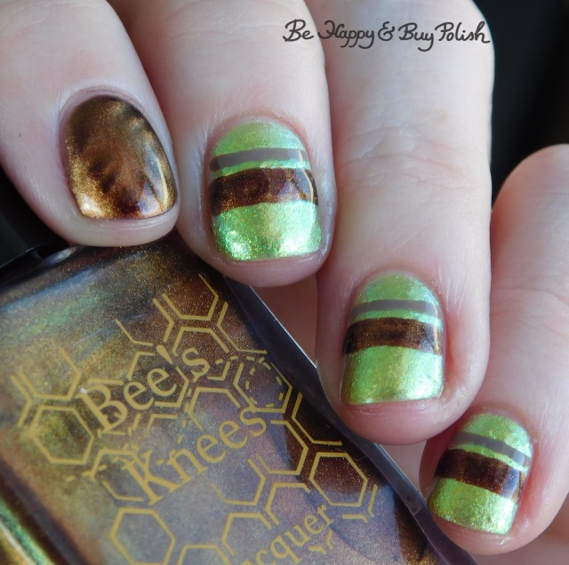 Bee's Knees Lacquer Pop Pop!, L.A. Colors Sheer Veil, P.O.P Polish Limeslickle magnetic stripe manicure close up | Be Happy And Buy Polish