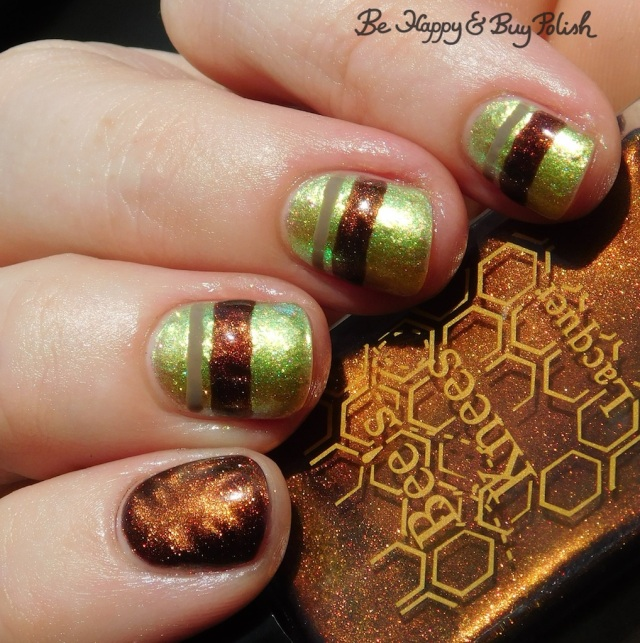Bee's Knees Lacquer Pop Pop!, L.A. Colors Sheer Veil, P.O.P Polish Limeslickle magnetic stripe manicure | Be Happy And Buy Polish