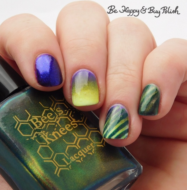 Bee's Knees Lacquer SS Georgie, Tonic Polish Indiglo, L.A. Colors Glows Energy, Radiation, Ultra Violet magnetic stripe blacklight manicure | Be Happy And Buy Polish