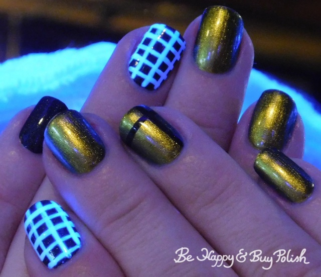 blacklight check manicure with KBShimmer Fool Moon, China Glaze Maliboo-boo, LA Colors Glows Energy   Be Happy And Buy Polish