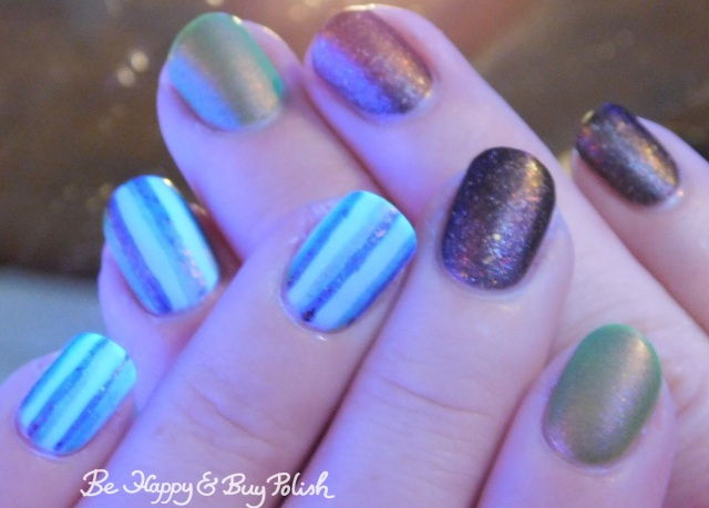 blacklight striped skittlette manicure with Polish 'M, Lollipop Posse Lacquer, L.A. Colors   Be Happy And Buy Polish