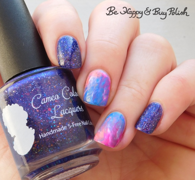 Cameo Colours Lacquers Shuttity Up Up Up, L.A. Colors Electric, Luminous, Energy, Nuclear rubbing alcohol manicure | Be Happy And Buy Polish