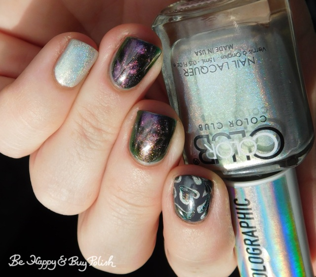 Color Club Enchanted holographic, Bee's Knees Lacquer I Heart Derry, L.A. Colors Graphite magnetic swirl manicure   Be Happy And Buy Polish
