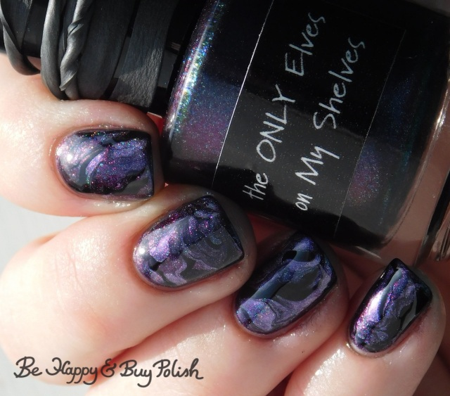 CrowsToes Nail Color Polish Pickup Pack The ONLY Elves on My Shelves, Blackheart Beauty Divine Elements Spirit holographic, L.A. Colors Circuits fluid marble nail art | Be Happy And Buy Polish
