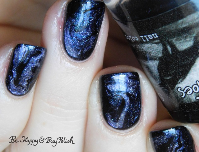 CrowsToes Nail Color The ONLY Elves on My Shelves, Blackheart Beauty Divine Elements Spirit, L.A. Colors Circuits fluid marble nail art | Be Happy And Buy Polish
