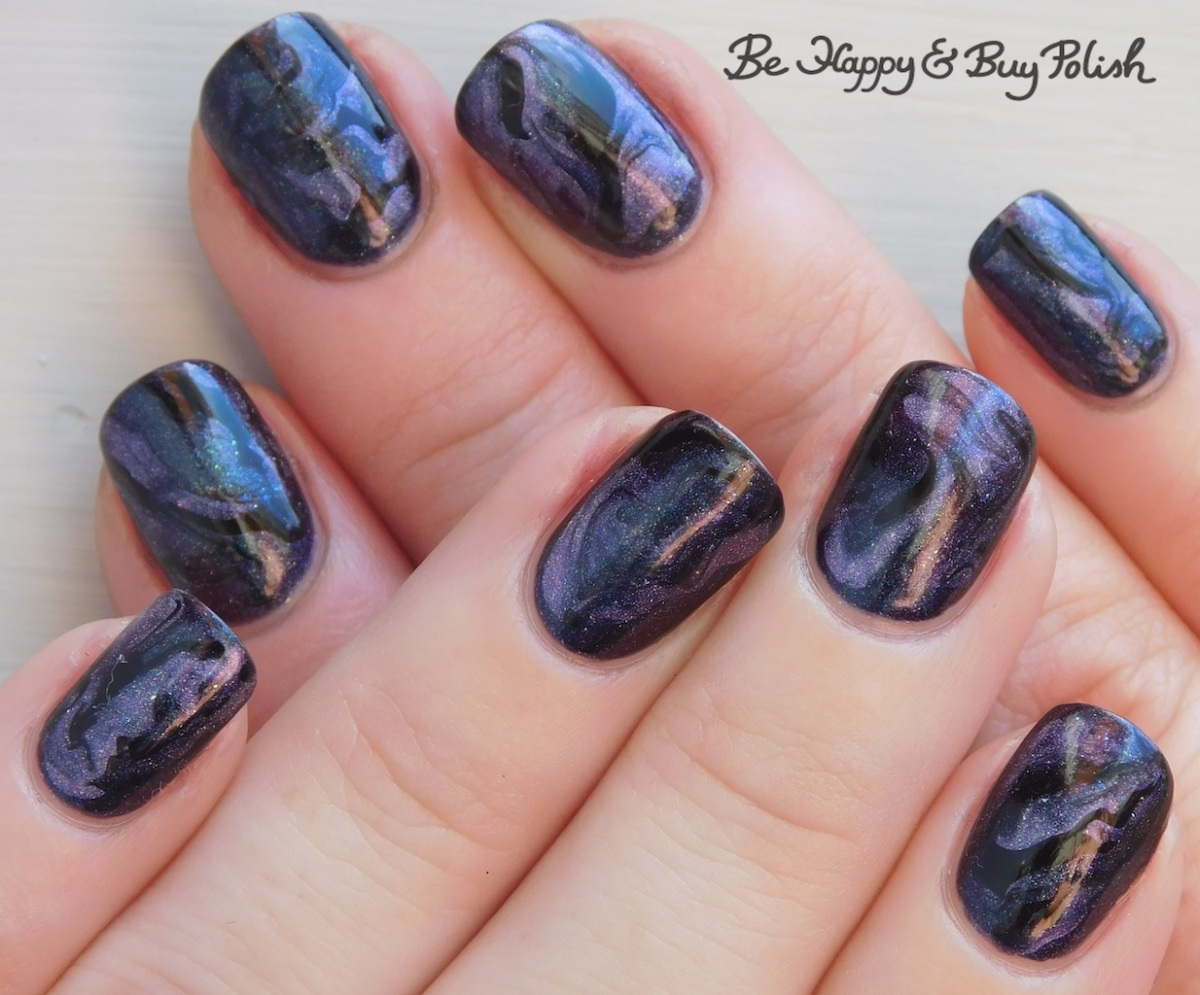 Fluid marble nail art with CrowsToes Nail Color, Hot Topic Blackheart Beauty, L.A. Colors