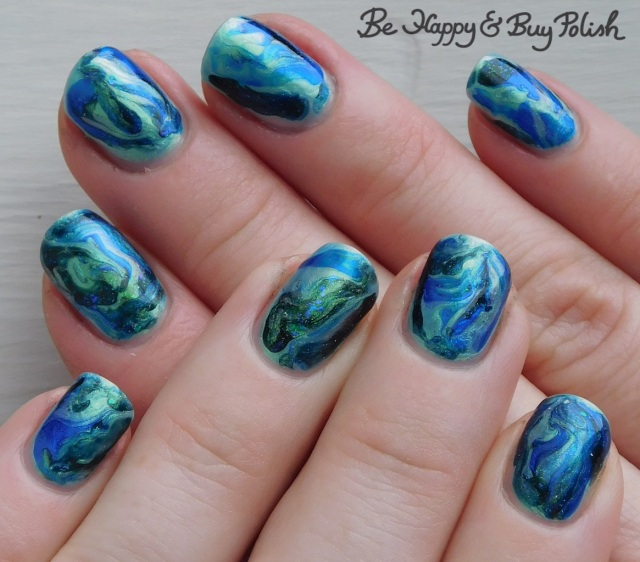 fluid marble nail art with Pure Ice, L.A. Colors, Quixotic Polish | Be Happy And Buy Polish