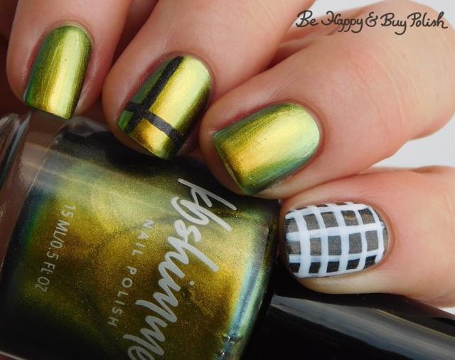 KBShimmer Fool Moon, China Glaze Maliboo-boo, LA Colors Glows Energy check manicure   Be Happy And Buy Polish
