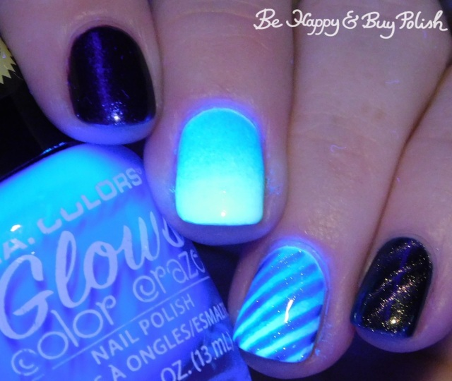 L.A. Colors Glows Ultra Violet, Radiation, Energy, Bee's Knees Lacquer SS Georgie, Tonic Polish Indiglo magnetic stripe blacklight manicure | Be Happy And Buy Polish