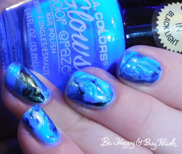 L.A. Colors Glows Wave Length, Quixotic Polish Bug Day, Pure Ice Bubbling Brew blacklight fluid marble nail art | Be Happy And Buy Polish