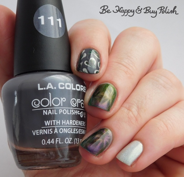 L.A. Colors Graphite, Color Club Enchanted holographic, Bee's Knees Lacquer I Heart Derry magnetic swirl manicure | Be Happy And Buy Polish