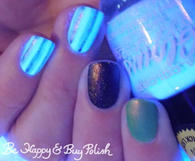 L.A. Colors Vapor, Lollipop Posse Lacquer When There's No More Room in Hell, Polish 'M No One Home blacklight striped skittlette manicure | Be Happy And Buy Polish