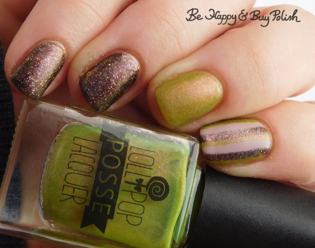 Lollipop Posse Lacquer When There's No More Room in Hell, Polish 'M No One Home, L.A. Colors Vapor striped skittlette manicure | Be Happy And Buy Polish