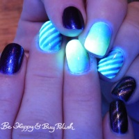 Blacklight reactive magnetic stripe manicure with Bee's Knees Lacquer, L.A. Colors, Tonic Polish