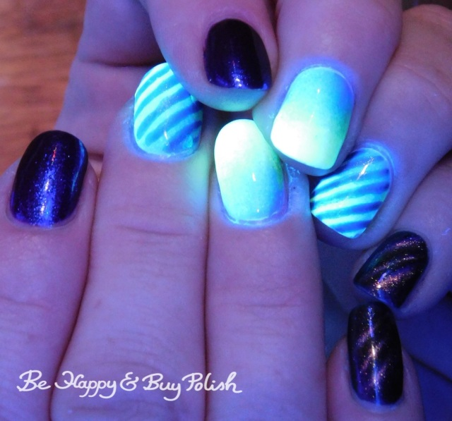 magnetic stripe blacklight manicure with Bee's Knees Lacquer SS Georgie, Tonic Polish Indiglo, L.A. Colors Glows Energy, Radiation, Ultra Violet | Be Happy And Buy Polish