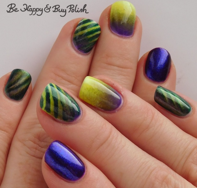 magnetic stripe manicure with Bee's Knees Lacquer SS Georgie, Tonic Polish Indiglo, L.A. Colors Glows Energy, Radiation, Ultra Violet | Be Happy And Buy Polish