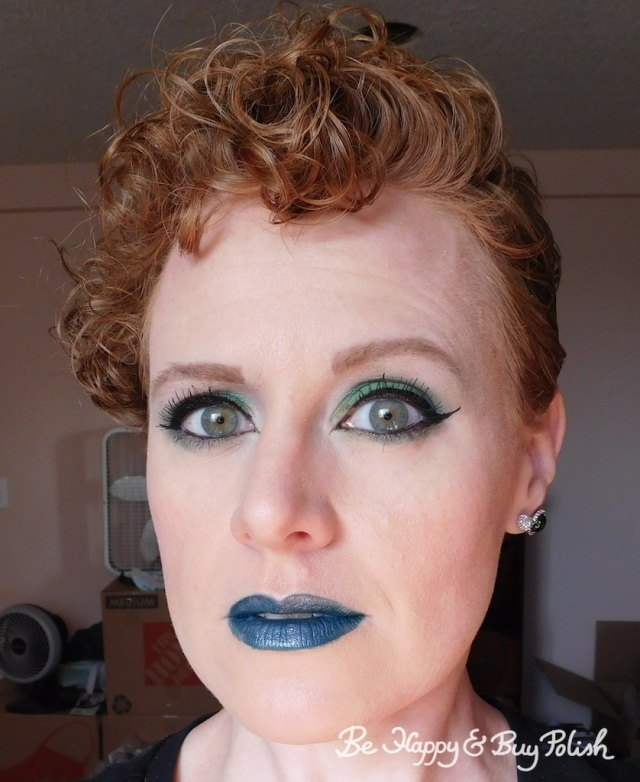 makeup look with Wet N Wild coloricon Lip Gloss Cancer over Wet N Wild Liquid Catsuit Emerald Envy | Be Happy And Buy Polish