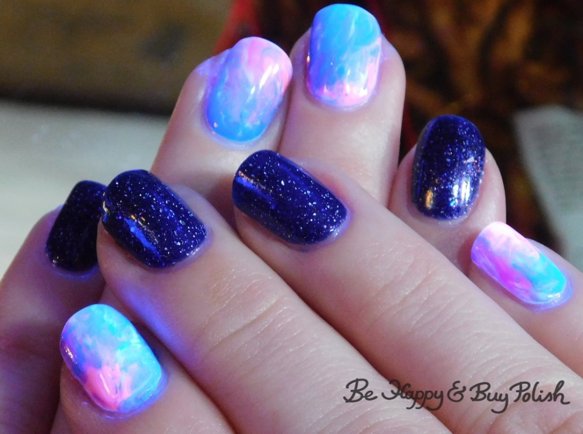 Blacklight reactive Rubbing Alcohol manicure with L.A. Colors and Cameo Colours Lacquers