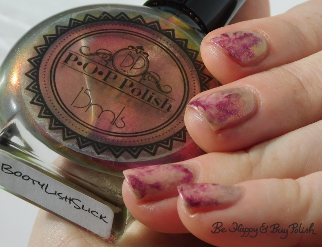 P.O.P Polish BootylishSlick, L.A. Colors Sheer Perfection, L.A. Colors Metal Marvelous smoosh manicure   Be Happy And Buy Polish