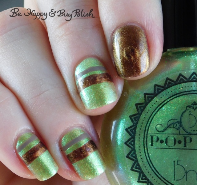 P.O.P Polish Limeslickle, Bee's Knees Lacquer Pop Pop!, L.A. Colors Sheer Veil magnetic stripe manicure close up | Be Happy And Buy Polish