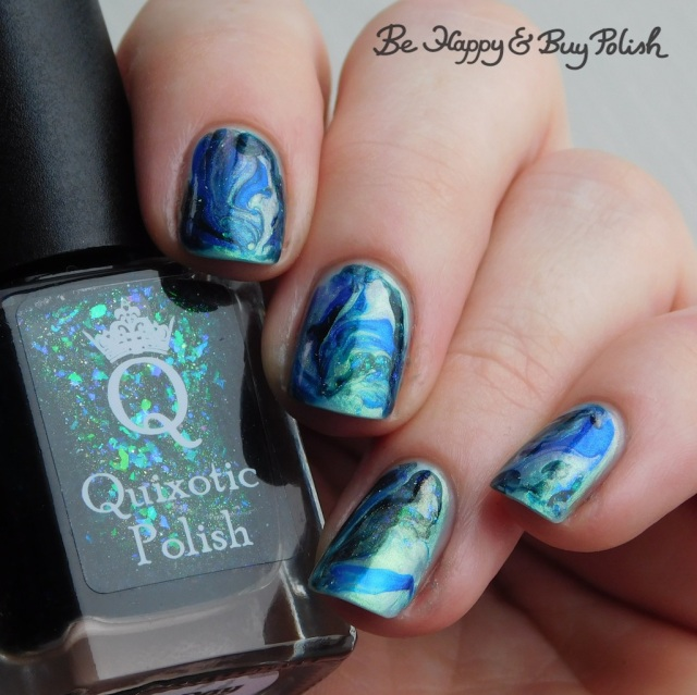 Quixotic Polish Bug Day, L.A. Colors Glows Wave Length, Pure Ice Bubbling Brew fluid marble nail art | Be Happy And Buy Polish