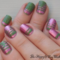 Metallic Thermal Stripe Manicure with KBShimmer and L.A. Colors