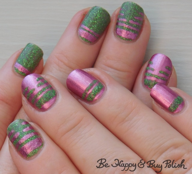 thermal metallic stripe manicure with KBShimmer and L.A. Colors | Be Happy And Buy Polish