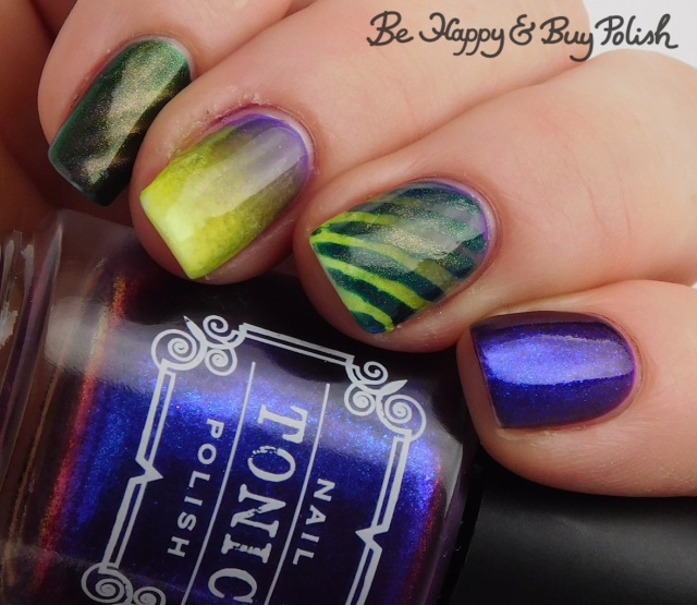 Tonic Polish Indiglo, Bee's Knees Lacquer SS Georgie, L.A. Colors Glows Energy, Radiation, Ultra Violet magnetic stripe blacklight manicure | Be Happy And Buy Polish