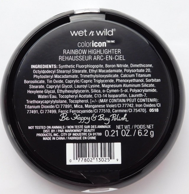 Wet N Wild coloricon Rainbow Highlighter Moonstone Mystique ingredients | Be Happy And Buy Polish