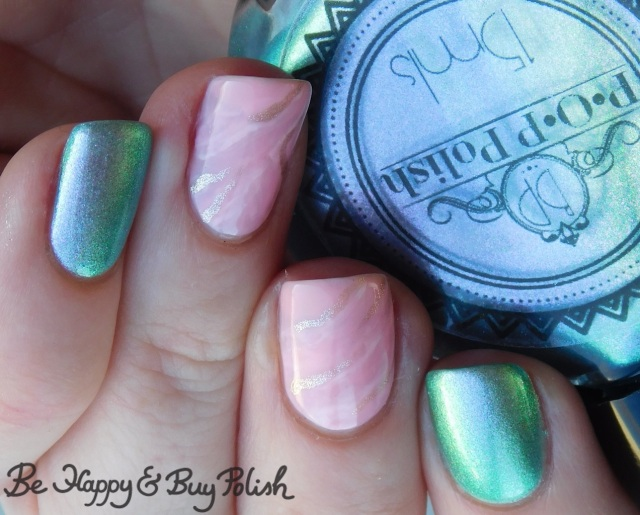 POP Polish I Do Be A Stubborn Slick, LA Colors Jelly Sheer Joy, LA Colors Metal Bubbly, LA Colors Energy Source pink stone marble nails close up | Be Happy And Buy Polish
