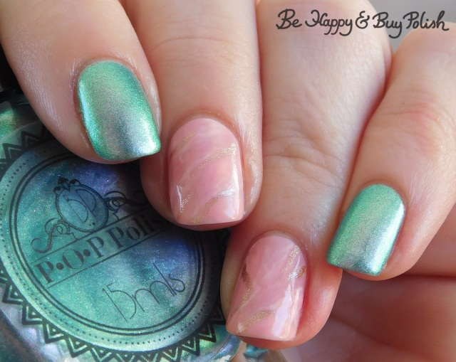 POP Polish I Do Be A Stubborn Slick, LA Colors Jelly Sheer Joy, LA Colors Metal Bubbly, LA Colors Energy Source pink stone marble nails | Be Happy And Buy Polish
