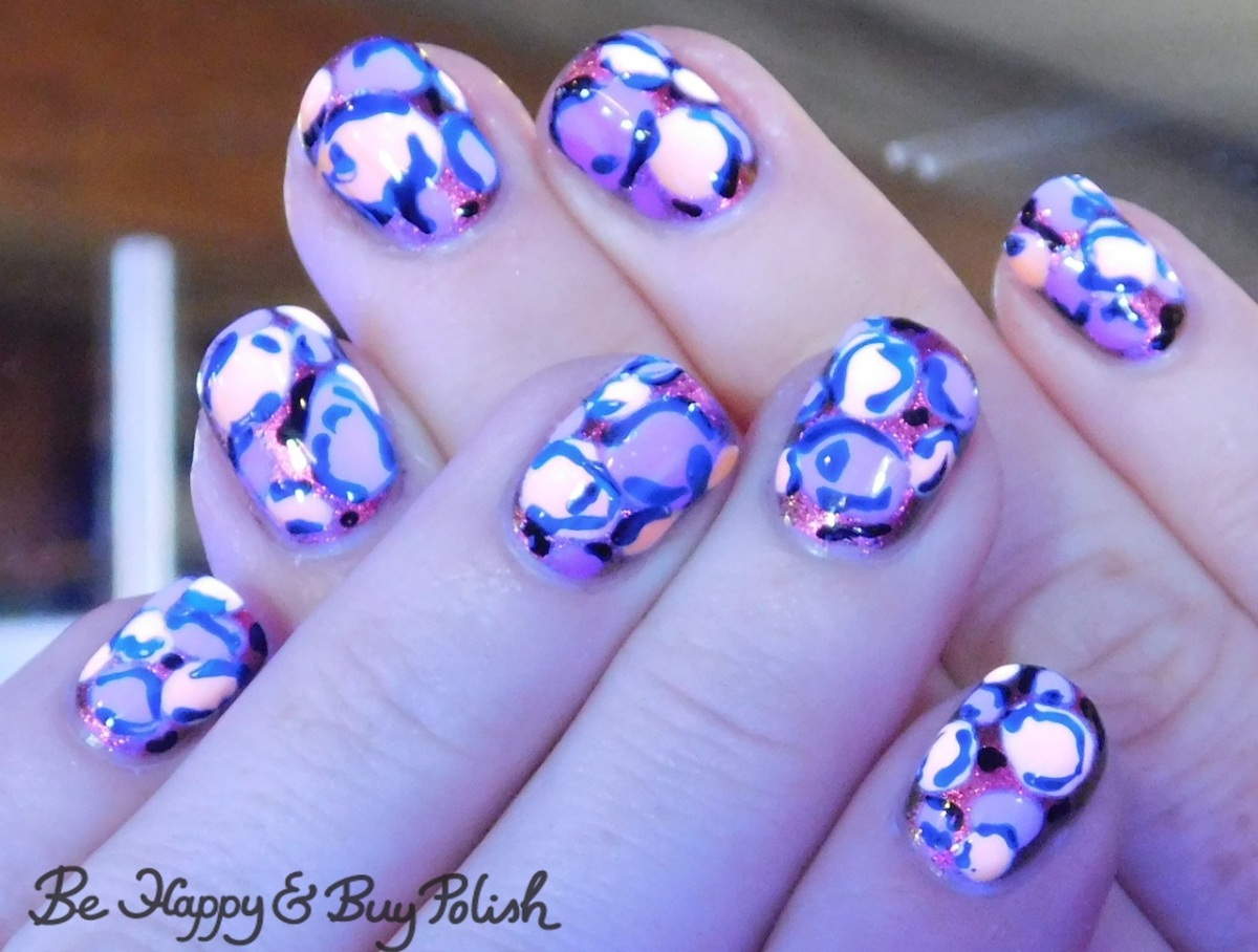 Blacklight Leopard Print Nails with Tonic Polish and LA Colors